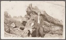 2 VINTAGE HUGE TREE BEING CUT DOWN CROSSCUT SAW TIMBER LOGGING OLD PHOTOS
