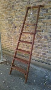 (G)VINTAGE  6 TREAD  LIBRARY / SHOP STYLE LADDER - SHELLAC SEALED & WAXED