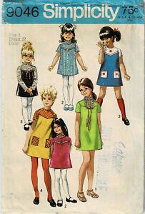 Vintage 1970 PATTERN Girls' DRESS Size 3 Simplicity 9046