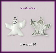 20 Antique Silver Colour 24 x 23mm Ghost Gothic Charms - Halloween