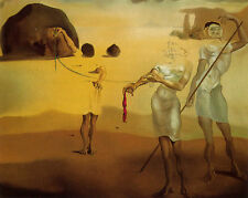 """Enchanted Beach with Three Fluid Graces by Dali  20"""" Paper Print  Repro"""
