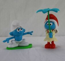 2017 Burger King 2 Smurf Toys Hefty & Flyin' Flower Copter New In Package