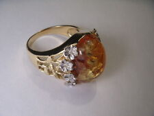 Gorgeous Estate 14K Two-Tone 2-Tone Gold Cabochon Amber Diamond Floral Ring Band
