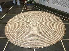 Rug Reversible Handmade Hand Woven Braided Jute and Cotton Area Rug, Round Rug