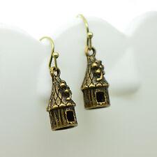 Bird House Earrings, Antique Bronze Finish, Vintage Style Charm Pendant Earring