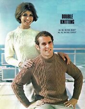 Sweater jumper pullover knitting pattern in DK. Aran style. cable. Mans, ladies.