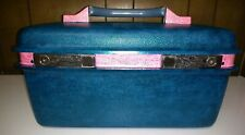 Vintage Samsonite Train Case Luggage w/ Tray And Key Custom painted Blue Pink