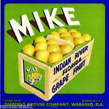 Wabasso Florida Mike Orange Citrus Fruit Crate Box Label Art Print