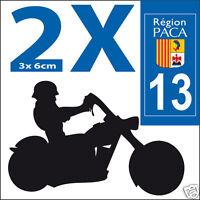 2 stickers autocollants style plaque immatriculation moto Département  13