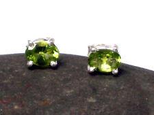 PERIDOT Sterling Silver 925 Oval Gemstone Earrings / STUDS  -  Gift Boxed!