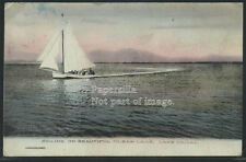 CA Lakeport H/C ROTOGRAVURE 1907 SAILING on BEAUTIFUL CLEAR LAKE by Albertype