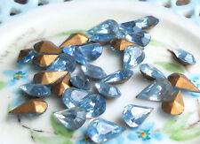 #290 Vintage Rhinestones Light Sapphire Pear Shape Blue Pears Foil  8x13mm NOS