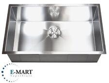 """32"""" Zero Radius Stainless Steel 16G Undermount Single Kitchen Sink"""