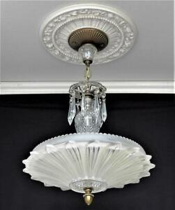 Antique Art Deco Glass Sunflower Ceiling Light Chandelier Clear Frosted Shade 14