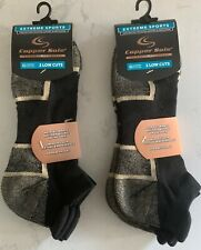 FOUR PAIRS COPPER SOLE LOW CUT TAB SOCKS BLACK SIZE XL BIG & TALL  12.5 TO 15