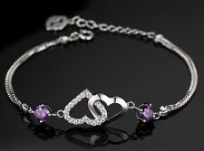 Sterling Silver Swarovski Element Crystal Amethyst Cross Heart Bracelet Chain B8