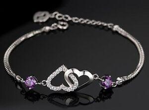 "Silver Cubic Zirconia Crystal Amethyst Cross Heart Bracelet 8"" Chain Gift Box B8"