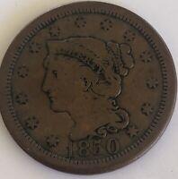 1850 Large Cent, Braided Hair