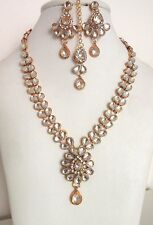 Indian Traditional Gold Tone Kundan Bridal & Wedding Party Fashion Jewelry Set