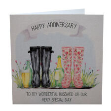 Personalised Anniversary Card Handmade Wedding Aniversary Card Wellingtons Boots