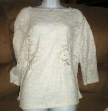 DONNA RAE LONG SLEEVED WHITE LACEY PULLOVER SWEATER XL NWOT