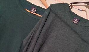 TWO Vintage Duofold Long John 2 Shirts Men's Large underwear base layer GREEN!