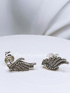 Authentic Pandora Majestic Feather Clear Cz Earrings W/Gift Box