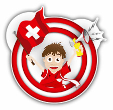 "Switzerland Flag Soccer Fan Cartoon Car Bumper Sticker Decal 5"" x 5"""