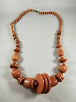Vintage Brown Wood Beaded Bohemian Necklace
