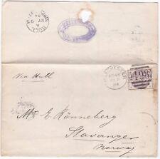 1884 KESSLER & Co MANCHESTER TO STAVANGER NORWAY 2½d PERFIN HULL SHIP LETTER