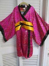 NWT-Kimono Geisha GIRL Satin Robe Costume Dress Sz S 4/5 4T 5T Halloween-NEW