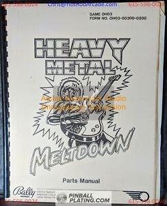 Heavy Metal Meltdown - Bally - Pinball Parts Manual - Instructions - Used Copy H