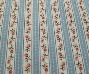 Vtg Cotton Fabric Marcus Brothers Calico Tiny Roses Wallpaper Stripe 4 yards