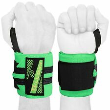 """WEIGHT LIFTING TRAINING WRIST SUPPORT COTTON WRAPS GYM BANDAGE STRAPS GREEN 18"""""""