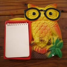 Vintage 1970 Miller Studio Colorful Owl Glasses Notepad Chalkware Wall Hanging