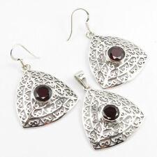 925 Silver AAA Quality GARNET Celtic Pendant & Earrings SET ! Cut Stone Jewelry