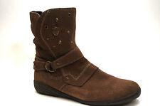 2014# VADO Schuhe Mädchen Stiefel Größe 33 Braun Velour Leder Boots Leichtfutter
