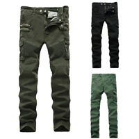 Mens Motorcycle Denim Racer Jeans Zip Pockets Stretch Skinny Trousers Fit Pants