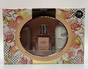 Philosophy Amazing Grace Ballet Rose 3Pc Gift Set EDT Spray, Body Emulsion Etc..