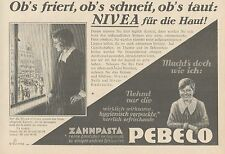 Y4866 Zahnpasta PEBECO - NIVEA Creme - Pubblicità d'epoca - 1927 Old advertising