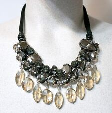 NWT $79 Chico's Cailyn Bib Necklace, Black & Gold-Tone Crystals