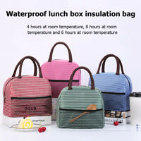 Waterproof Striped Lunch Bags Thermal Insulated Thickened Bento Case Tote