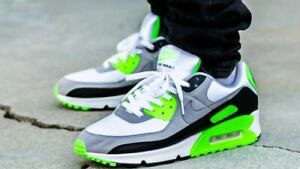 Nike Air Max 90 Shoes White Gray Lime Green CW5458-100 Men's NEW