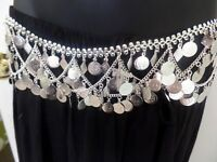 BANJARA KUCHI Silver Chain Coin Belly Dance Belt Hip Scarf Jewelry Indian ATS