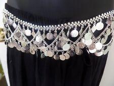 BANJARA KUCHI Silver Chain Coin Belly Dance Belt Hip Scarf Jewelry Indian ATS