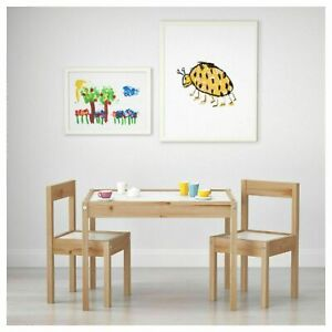 Children's Table with 2 Chairs Solid Pine Wood Kids Furniture Study Room Nursery