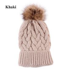 New Women's Outdoor Winter Warm Chunky Knit With Fur Pom Pom Beanie Hat Caps