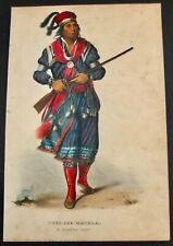 Tuko-See-Mathla A Seminole Chief Original 1843 Hand Colored Lithograph