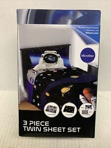 Kids Twin Sheet Set 3 Pieces,Outer Space Universe Planets Astronaut Nasa New