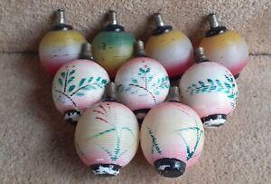 Collection 9 Vintage Hand Painted Glass Oriental Lantern Christmas Lights Bulbs